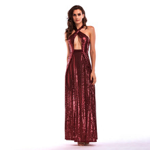 D138 floor length double split back open cross front sexy halter sequined dress