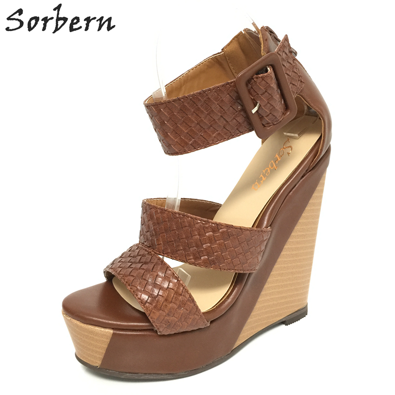 Sorbern 2017 Women Shoes Platform Wedge Size 14 Women Summer Shoes And Sandals Open Toe Custom Colors Large Size EU34-46 summer air mesh women sandals fashion 2 colors open toe lace up wedge swing shoes height increasing platform sandals size 35 39