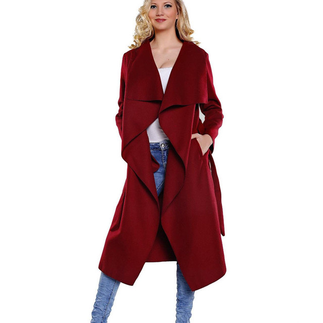 2016 New Autumn Winter Coat Women Wide Lapel Belt Wool Coat Plus Size Long Trench Coat Casacos Femininos Coat Wool Poncho LH193
