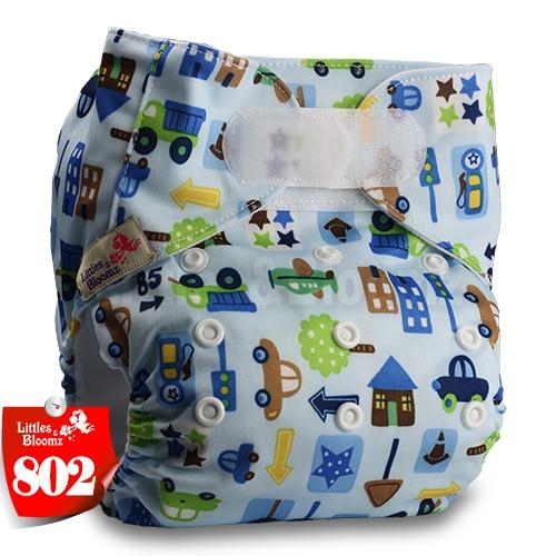 [Littles&Bloomz] Один размер многоразовые тканевые подгузники Моющиеся Водонепроницаемые Детские карманные подгузники стандартная застежка на липучке - Цвет: 802