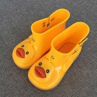 2017 New Melissa Rhubarb Duck Children Cartoon Rainboots Fashion Kids Water Shoes Boots Jelly