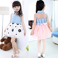 2016 Fashion Embroidery Flower Tulle Girl Dress Summer Style baby Girls Clothes Sleeveless Denim Jeans dress Children Clothing