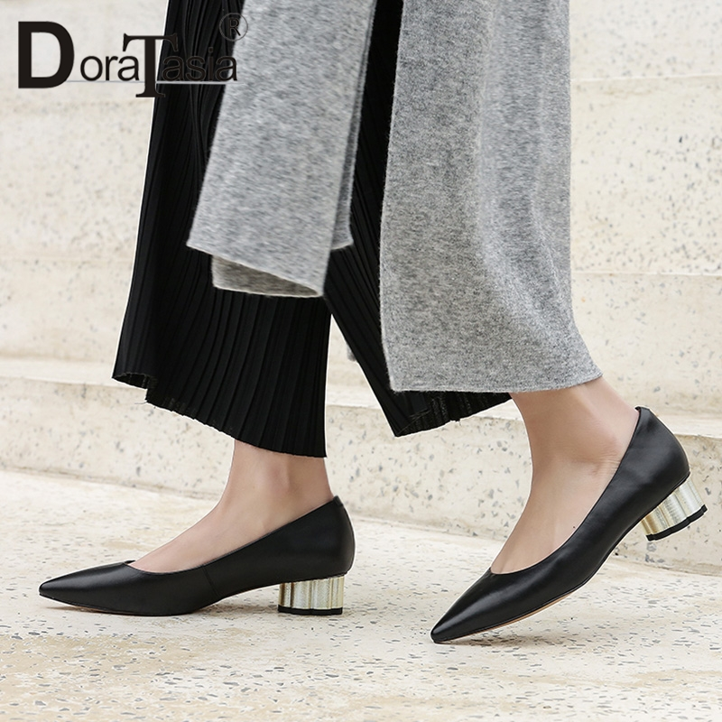 DORATASIA 2019 Cow Genuine Leather Sheepskin Woman Shoes Sexy Pointed Toe Elegant Chunky Heels Shoes Women Pumps