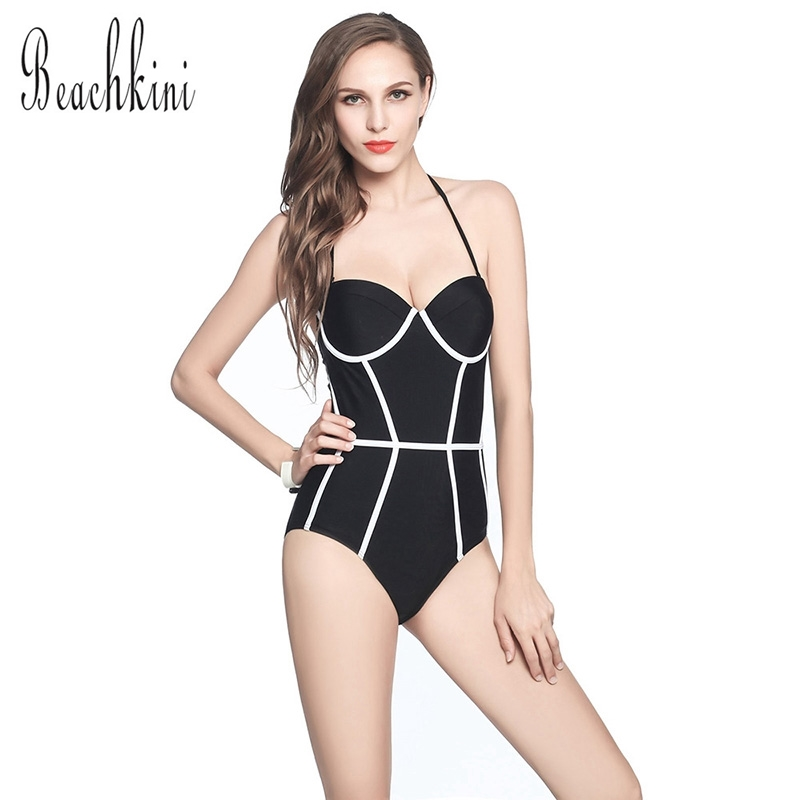 TRIKINI 2017 One Piece Bodysuit Push Up Bathing Suit Halter Monokini Sexy Swimwear Women Backless Triangle Swimsuit black lace one piece swimwear halter bathing suit bodysuit onepiece trikini sexy monokini women plus size one piece swimsuit