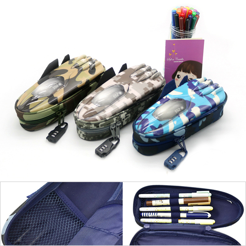 Creative Fighter Pencil Bag Large Camouflage Canvas Pencil Case With Lock For Boy School Supplies Student big capacity high quality canvas shark double layers pen pencil holder makeup case bag for school student with combination coded lock