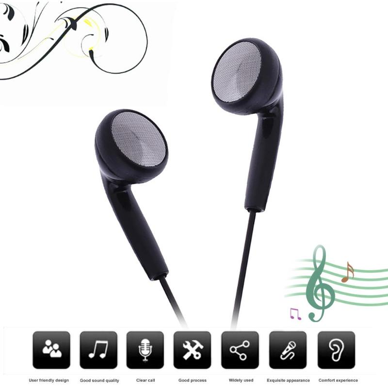 Black Universal earphone 3.5mm Wired Stereo Headphone Headset Earpiece With Mic For Phones MP3 Music player Computer