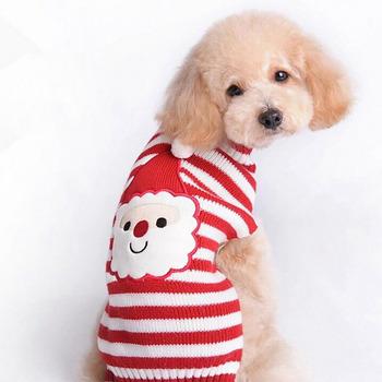 Święty mikołaj zwierzęta dzianinowy sweter z golfem wakacje zimna pogoda zwierzęta sweter strój dla kotów małych i średnich psów tanie i dobre opinie FangNymph JJ8542-01 Other Zima Moda