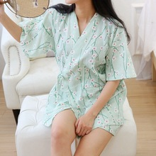 Japanese Yukata Women's Pajamas Kimono Short Pants Sets Robes Dress Cotton Girl Home Sleepwear Bathrobe Leisure Wear Loose Style