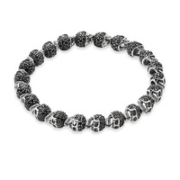 Silver Black Zirconia Skeleton Skull Karma Bead Bracelets, European Punk Style DIY Bracelet Jewelry Fashion Gift For Women Men