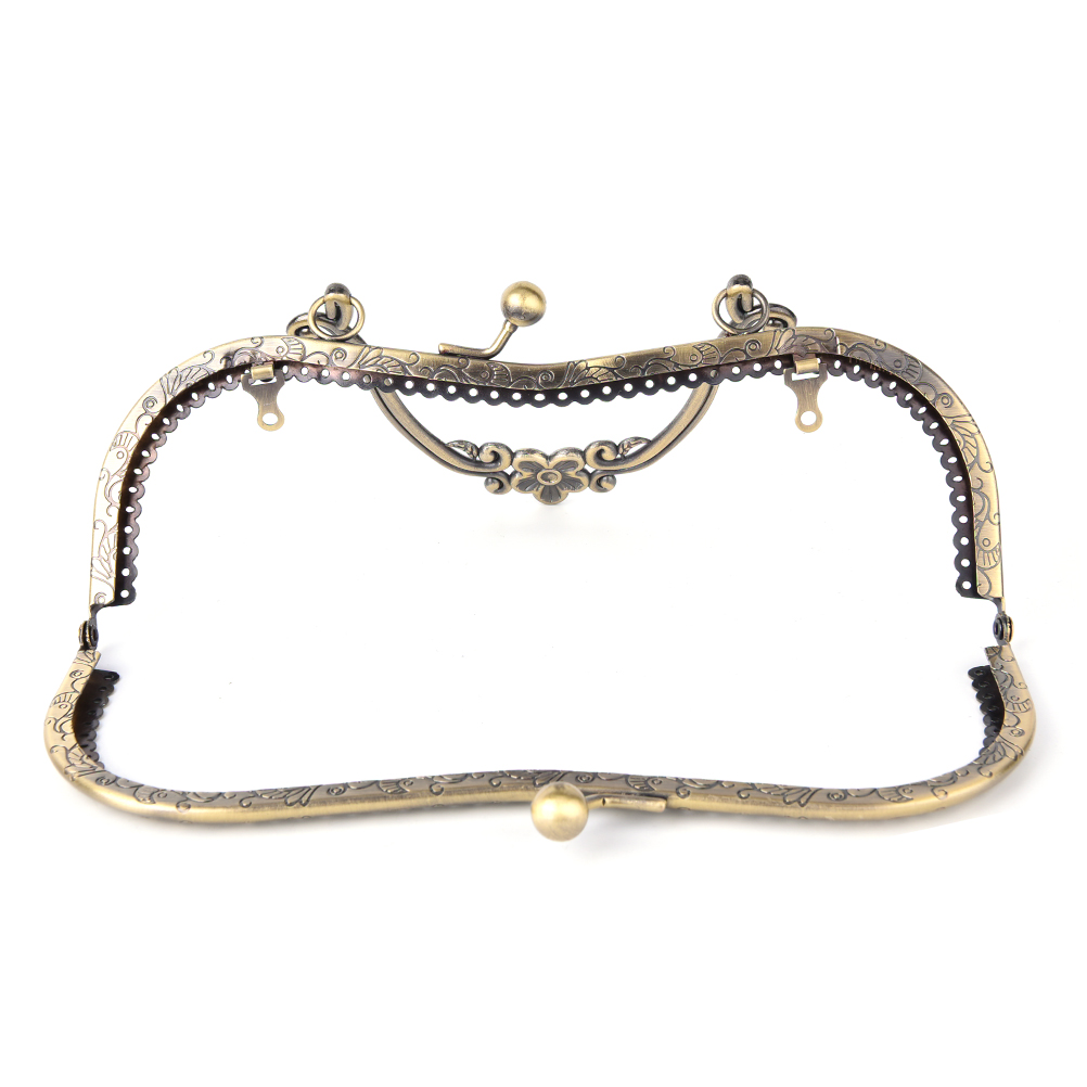 DIY 20.5cm Vintage Elegant Women Purse Frame Clutch Bag Clasp With Handle Knurling Bronze Hardware Accessories High Quality