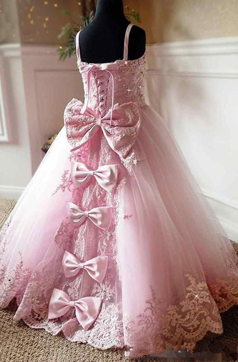 2019 Beautiful Pink Lace Appliques Beads Long Flower Girl Dresses Spaghetti Straps Custom Kids First Communion Pageant Party Gow