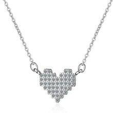 TJP Luxury Zircon Stone Heart Pendants Necklace For Women Jewelry Charm 925 Sterling Silver Lady Accessories Gift