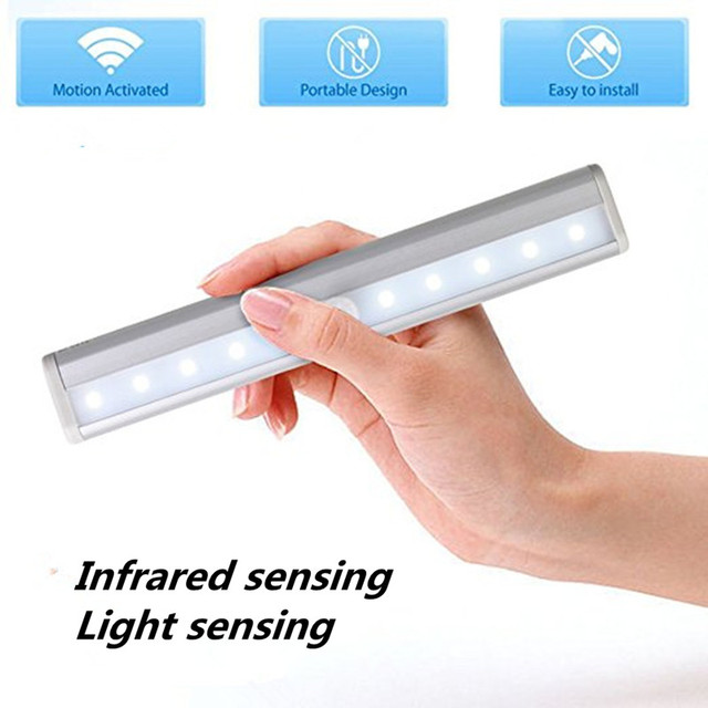 Us 8 1 Motion Sensor Night Light Potable 10 Led Closet Lights Battery Ed Wireless Cabinet Ir Infrared Detector Wall Lamp In Under