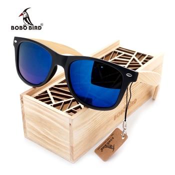 BOBO BIRD Square Vintage Sunglasses Men Women Wood Sun Glasses Retro Polarized oculos Brand