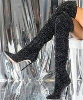 Пикантные черные ботфорты со стразами, узкие высокие сапоги с острым носком на металлическом каблуке, зимние высокие сапоги с боковой молни
