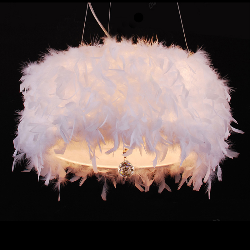 modern white hanging pendant lamp with crystal feather pentant light LED lamp for bedroom cylindrical shape