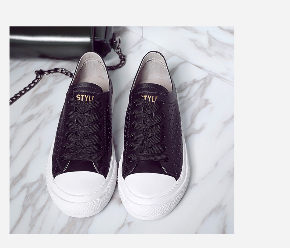 Donna-in 2019 New Women Flats Sneakers Genuine Leather Shoes Lace-up Cut-outs Flat Casual Women Shoes Hollow Summer Black White (17)