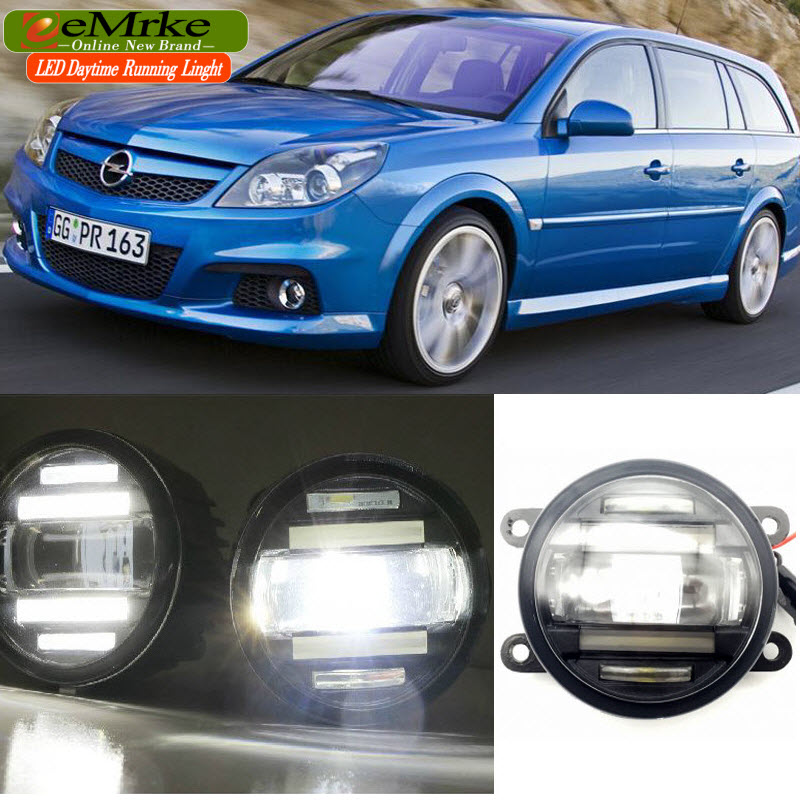 eeMrke Car Styling For Opel Vectra C OPC 2006 2007 2008 2009 2 in 1 LED Fog Light Lamp DRL With Lens Daytime Running Lights eemrke led angel eyes drl for suzuki aerio liana 2005 2006 2007 fog lights daytime running lights h3 55w halogen cut line lens