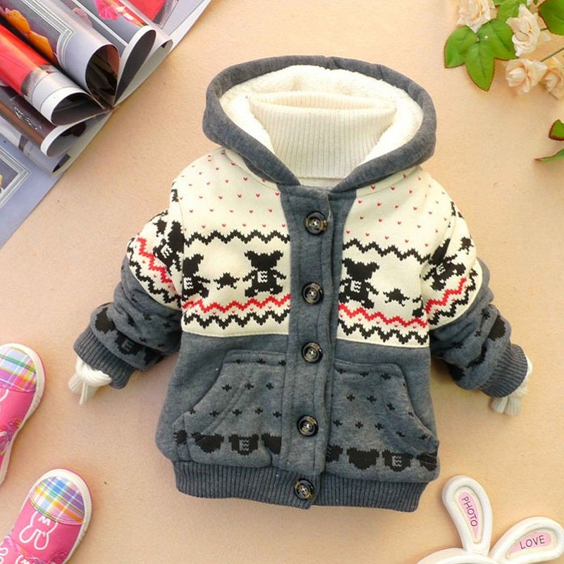 2017 Winter Hoodies Coat Cotton Hooded Minion Jackets Autumn Children Warm Outerwear Kids Clothes Baby Clothing