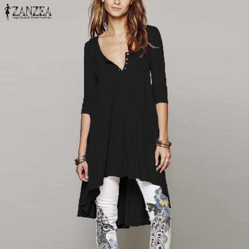 특대 2020 가을 ZANZEA 여성 캐주얼 루즈 미니 드레스 V 넥 3/4 슬리브 우아한 롱 블라우스 셔츠 Vestidos Plus Size