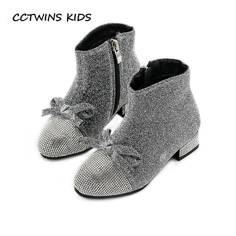 CCTWINS KIDS 2018 Winter Children Butterlfy Boot Toddler Brand Rhinestone  Heel Shoe Baby Girl Fashion Glitter Ankle Boot CF1593-in Boots from Mother    Kids ... 934a0a3085e8