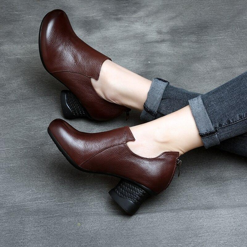 Tyawkiho rabat Handmade wiosna damskie botki brązowy marka prawdziwej skóry 5 CM wysoki obcas czarne zestaw butów wygodne w Buty do kostki od Buty na  Grupa 2