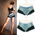 Free shipping 2013 Summer Fashion Ultra-low-waisted Denim Shorts Patchwork Lace Paragraph Sexy Slim Jeans Short Beach For Women