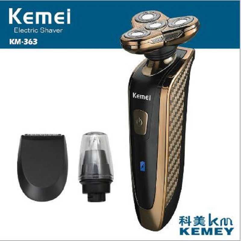 Kemei 363 Electric Shaver Rechargeable Washable 4 Heads Razor 3 in 1 Blade Shaving Razors Men Face Care 4D Floating Trimmer kemei 7390 electric shaver washable razor for men blade rechargeable razor shaving men face beard care 3d floating hair trimmer
