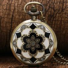 2017 Luxury Fashion Vintage Elegant Ceramics Flowers Antique Quartz Pocket Watch Necklace Pendant Clock For men and women gift
