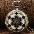 2017 de la Moda de Lujo Elegante de La Vendimia de Cerámica Flores Antique Cuarzo Reloj de Bolsillo Colgante Collar Reloj Para hombres y mujeres de regalos