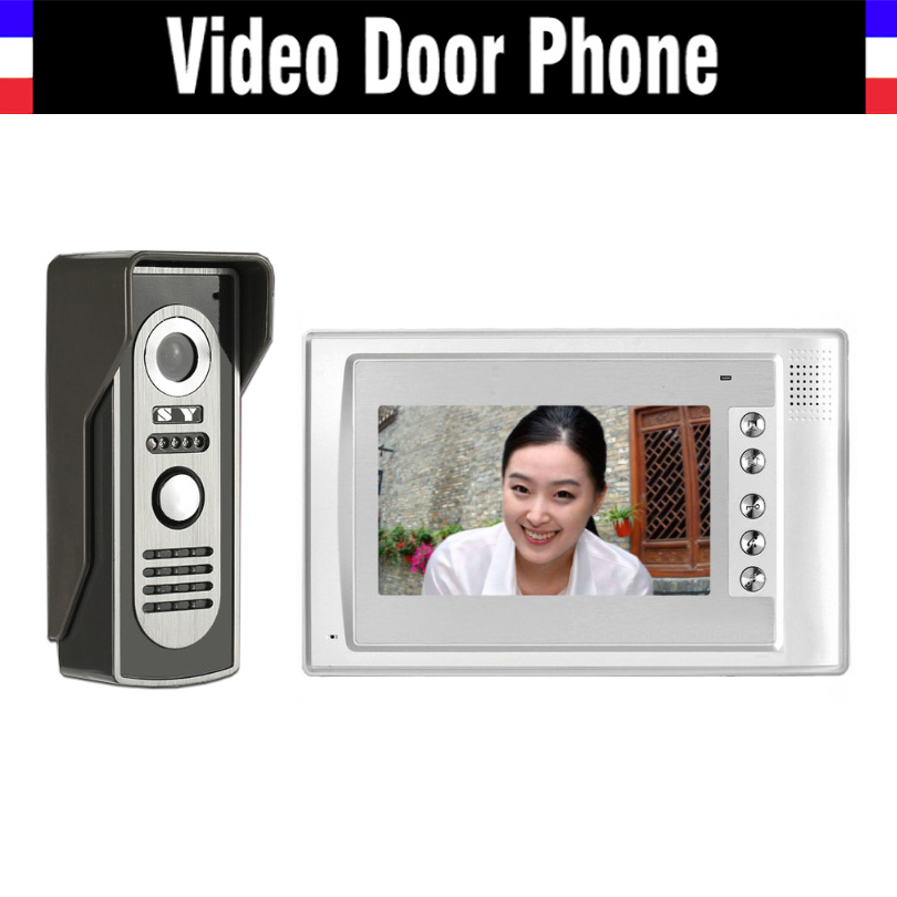 7 LCD Monitor video doorbell Intercom System IR Night Vision Alloy Door Camera Video Door Phone Kit 1 Monitor 1 Camera Kit hot sale video door phone intercom system 7 inch color lcd monitor video intercom night vision alloy waterproof door camera