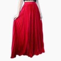 Trendy red plissada chiffon saias longas mulheres 2016 custom made chic zipper a line pavimento length saias maxi sólidos