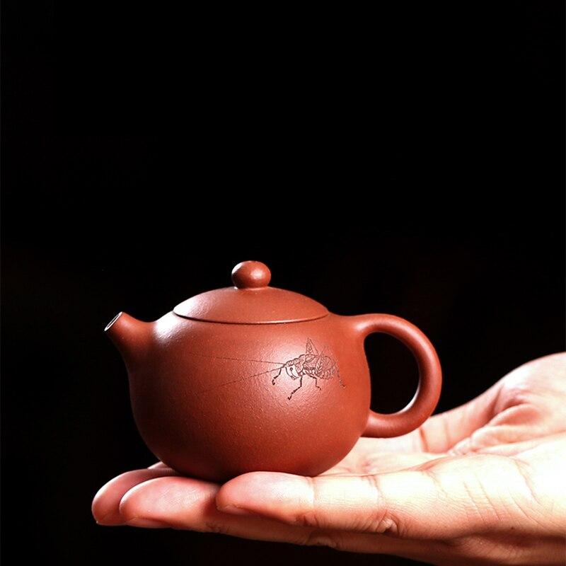 100 ML Yixing Minerai Brut Argile Pourpre Mini Théière À La Main 7 trous Zisha Xishi Pot Noir Thé Dahongpao Art Bouilloire Petit décoration