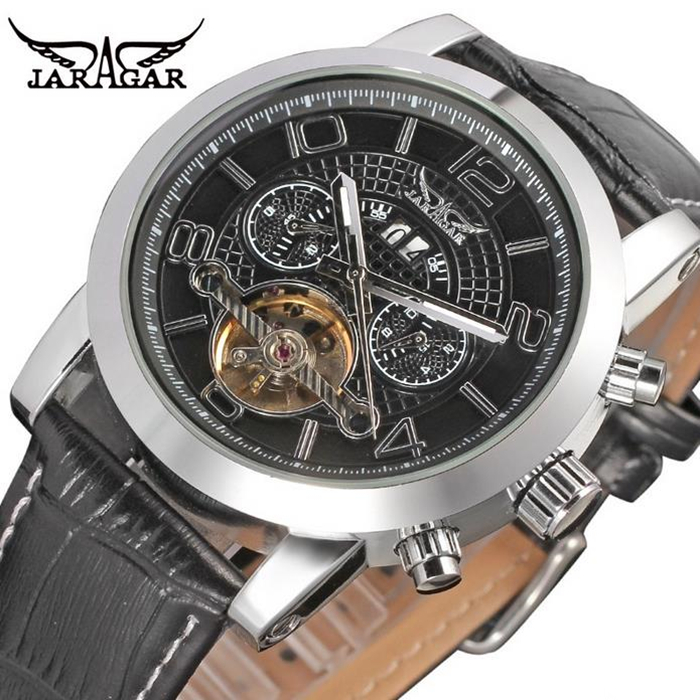 Fashion JARAGAR Men Luxury Brand Watch Tourbillion Automatic Mechanical Leather Strap Wristwatches Gift Box Relogio Releges 2016 jaragar men luxury watch stainless steel tourbillion automatic mechanical wristwatch relogio releges