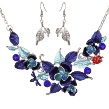 1set Fashion Initial Custom Bohemian Flower Leaf Pendant Chain Long Choker Statement Necklaces Set Dangle Earrings Women