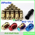 20Pcs/Set M12*P1.5 7Star Style Car Anti-theft Nuts Gold, Wheel Lock Formula Lug Nuts Security Key Alloy Steel Closed End