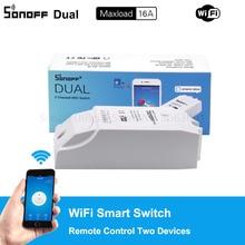 Sonoff כפולה 2CH Wifi מתג כפול אורות נשלט מרחוק Wifi מתג שליטה שני מכשירים חכם אלחוטי מתג עובד עם Alexa