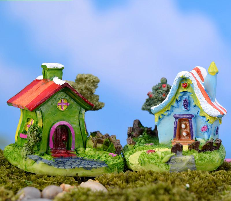2015 New Hot High Quality Crafts 5 Style Miniature Garden Cartoon Fairy House Europe Miniature