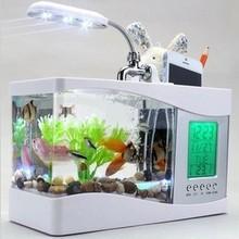 Домашний аквариум маленький аквариум USB lcd Настольный светильник светодиодный белый