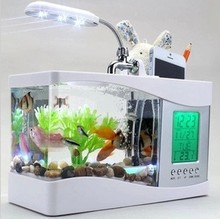 Nhà Hồ Cá Nhỏ Cá USB Màn Hình LCD Máy Tính Để Bàn Đèn LED Đồng Hồ Trắng