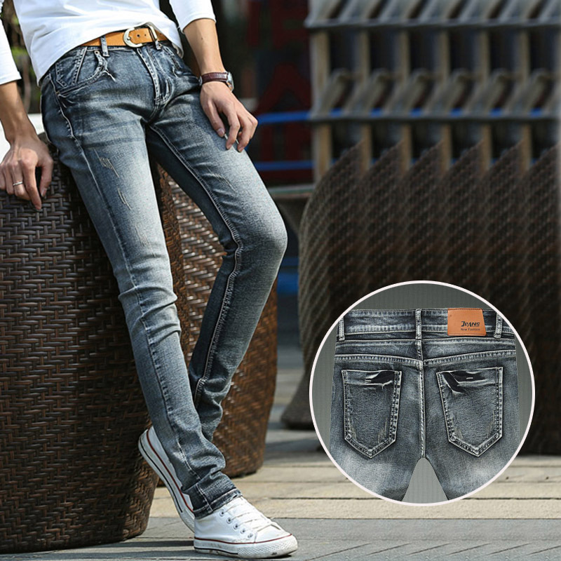 High quality cotton men black jeans, male retro stretch Slim pencil pants denim brand fashion skinny jeans Solid Denim trousers 17 shark summer new italy classic blue denim pants men slim fit brand trousers male high quality cotton fashion jeans homme 3366