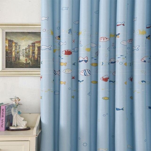 Printing Curtains For Ocean Sea Fish Child Bedroom Window Curtain Tulle Sheer Cartoon Children Kids