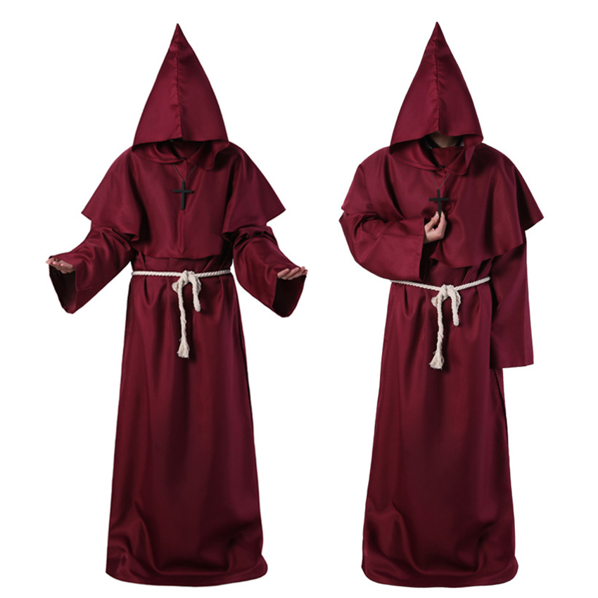Horror Grim Reaper Costume Men Vintage Monk Cosplay Cloak Robe Scary Wizard Costume Halloween Costumes for women Dress 5