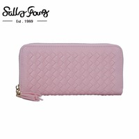 2017 Sally Young International Brand Women Wallet Long Purse Lines Solid Color Zipper Wallet 5 Colors