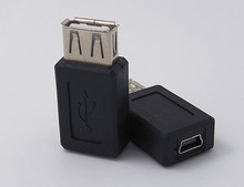 Free Shipping USB AF to Mini 5Pin Female Adapter F/F 2PCS/lot