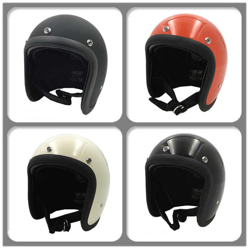 TT & CO 500TX moto rcycle шлем стекловолокно оболочка 3/4 открытым лицом винтажные мото шлемы из натуральной кожи, мужской женский ретро-шлемы