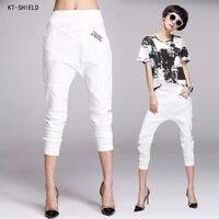New Arrivals White Women Pants Elastic Waist Women Pencil Harem Pants Linen Trousers Hip Collapse Model
