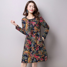 New Vintage Floral Print O Neck With Button Long Sleeve A Line Dress Autumn Spring Women Casual Clothes Autumn