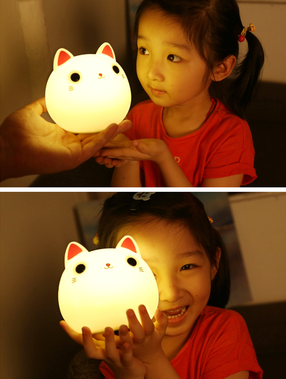 SuperNight Cute Cartoon Cat LED Night Light Silicone Rechargeable Touch Tap Kids Baby Bedroom Bedside Warm Colorful Table Lamp (10)