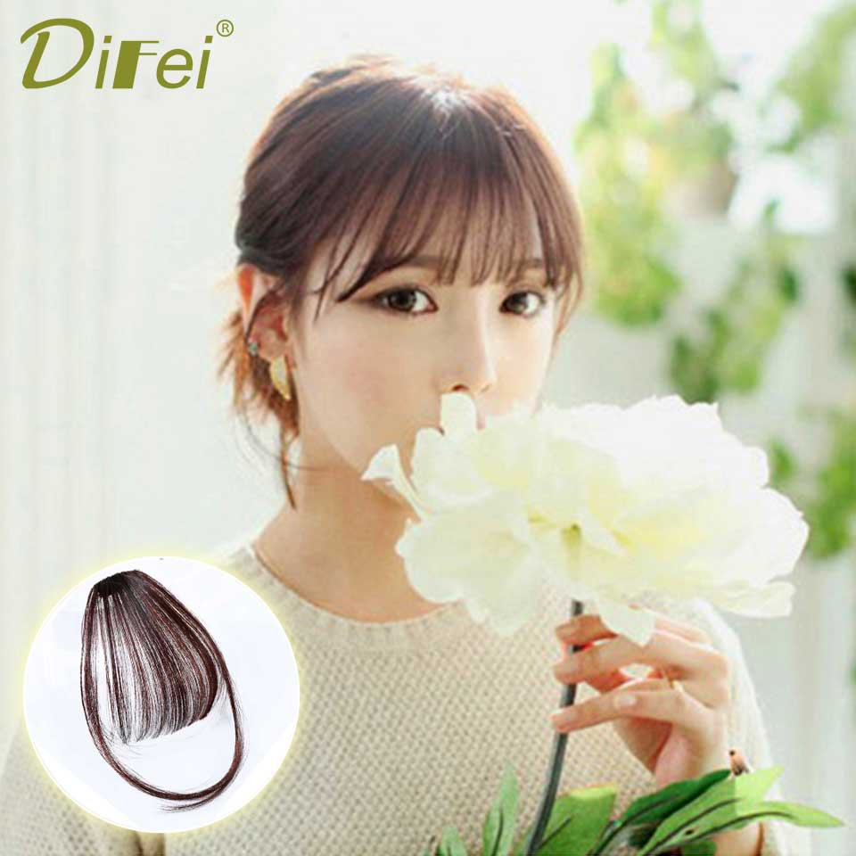 DIFEI Fake Long Blunt Bangs Mini Clip-In Hair Extension Synthetic False Hair piece Fringe Seamlessly Natural clip On For Woman